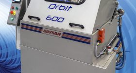 The Orbit 600 Special Powder Flush system for removal of residual additive manufacturing powders from trabecular structures. Photo via Guyson International.
