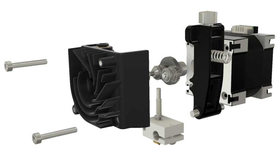 An exploded view of the Hemera Dual extrusion system. Photo via E3D Online.