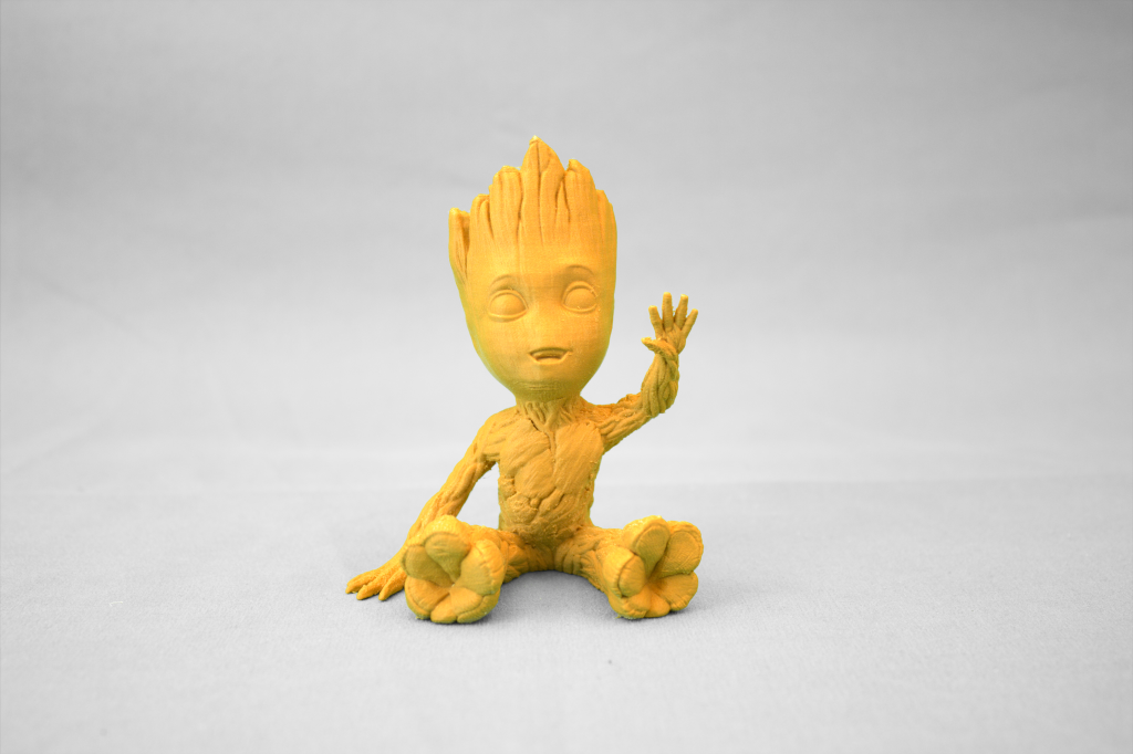 A highly detailed, quality model of Baby Groot made from wood-filled PLA.