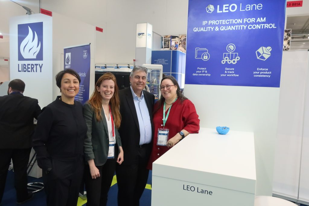 From left to right: Tessa Blokland, co-founder and VP Design Industry Expert at LEO Lane, Beau Jackson, Deputy Editor 3D Printing Industry, Moshe Molcho, CEO and co-founder LEO Lane and Lee-Bath Nelson, VP Business and co-founder of LEO Lane.