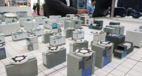3D printed machine models used in intuitive factory planning from Siemens. Photo by Beau Jackson