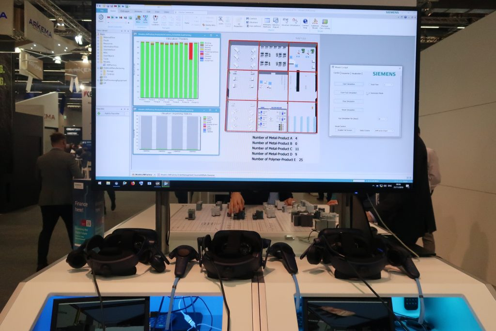 VR headsets and the factory planning simulation tool from Siemens. Photo by Beau Jackson