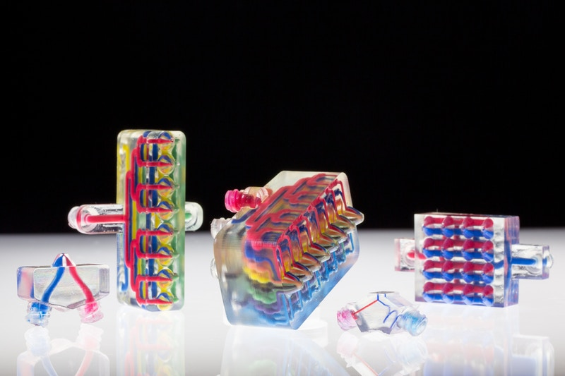 Example printheads for multimaterial multinozzle 3D printing (MM3D). Photo by Lori K. Sanders, Harvard University