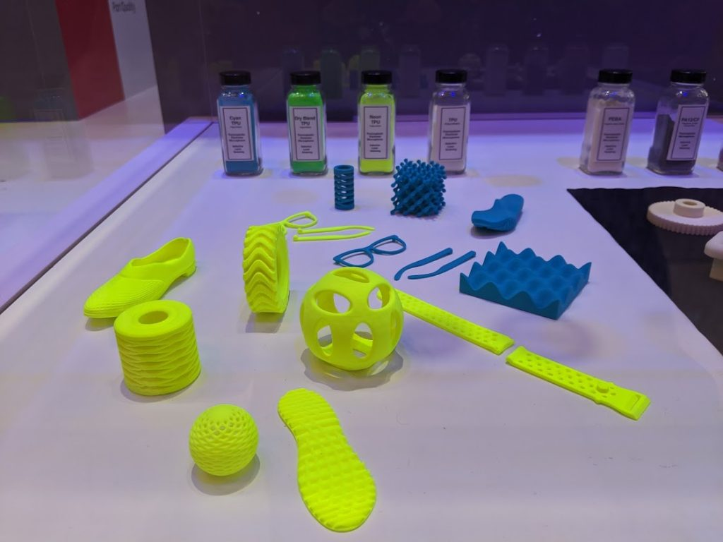Neon TPU 3D prints made with Xerox SLS powder. Photo by Michael Petch.