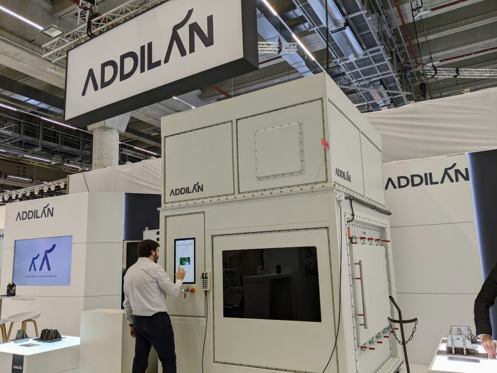 The Addilan metal additive system at formnext 2019. Photo by Michael Petch.