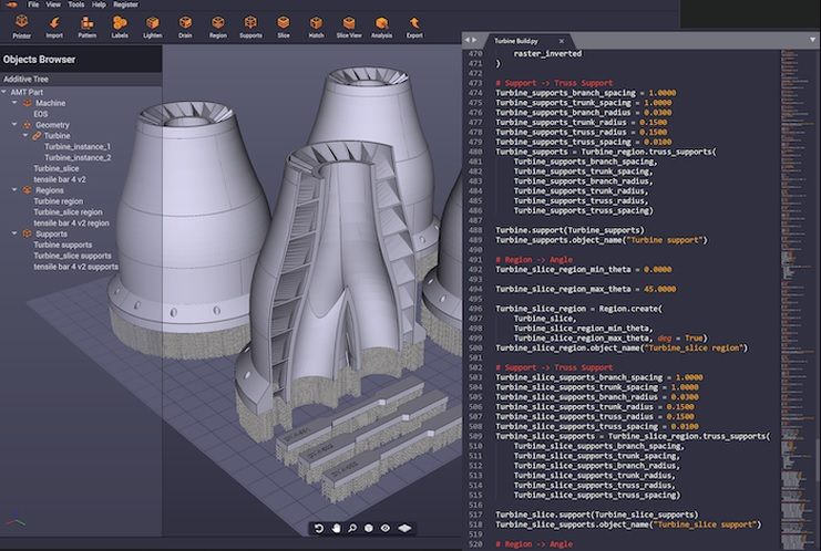 Dyndrite Additive Manufacturing Toolkit with Python interface. Image via Dyndrite.