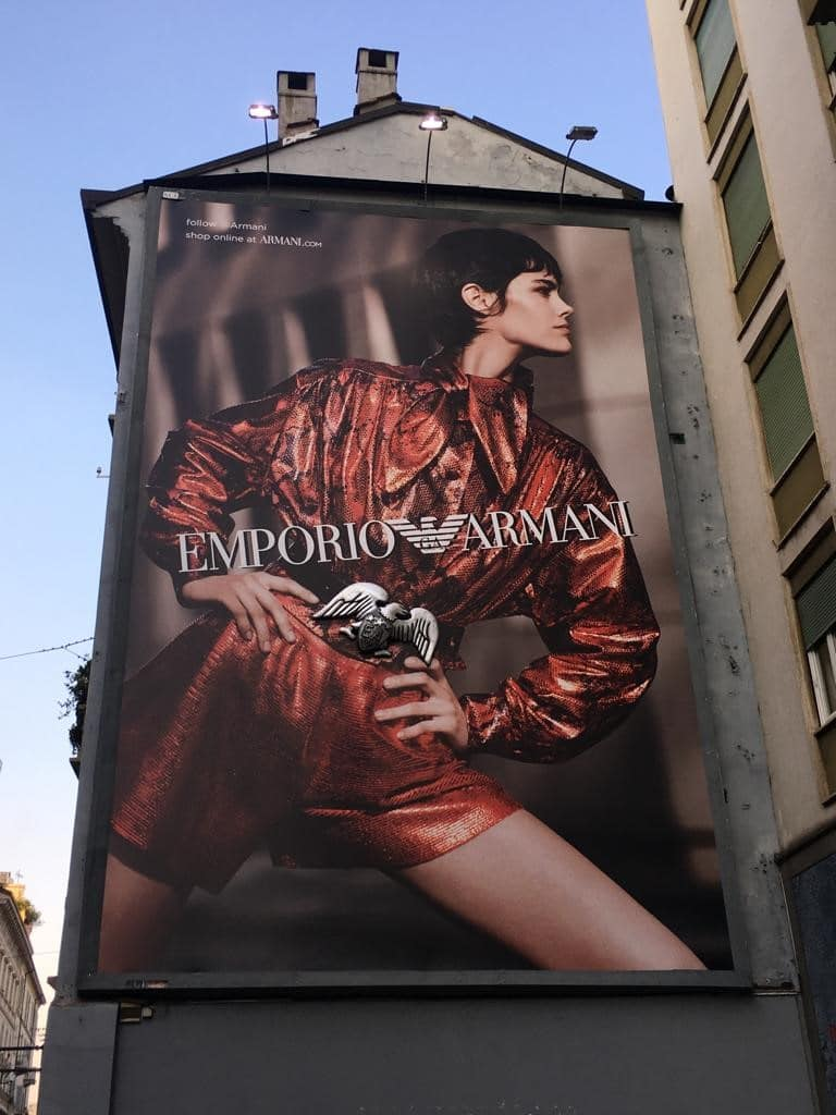 The 3D printed eagle buckle on the Giorgio Armani billboard. Photo via Giorgio Armani.
