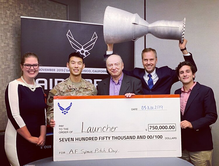 Launcher's $1.5M award at the U.S. Air Force Space Pitch Day. (Note: The photo was captured before the award upgrade opportunity to $1.5M). Photo via Launcher.