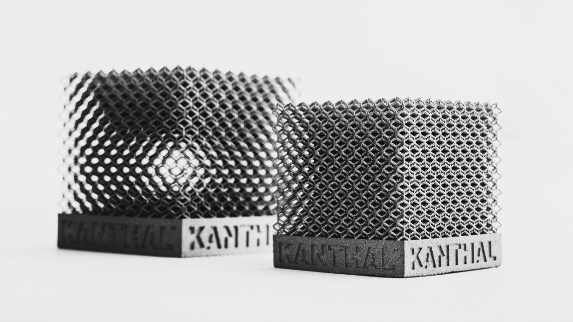 3D printed structures created using Kanthal AM100. Photo via Kanthal.