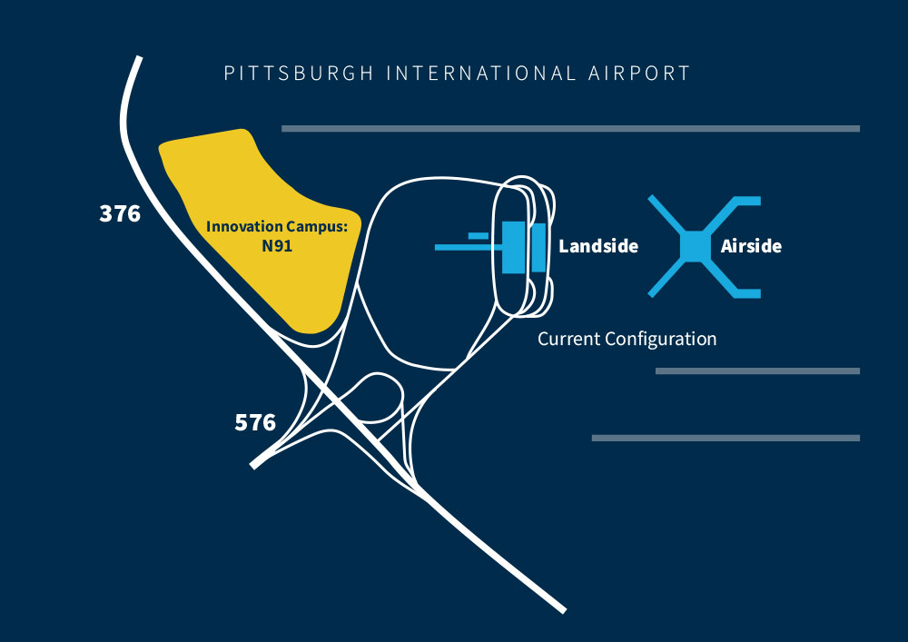 Map showing the location of Neighbourhood 91. Image via Pittsburgh International Airport