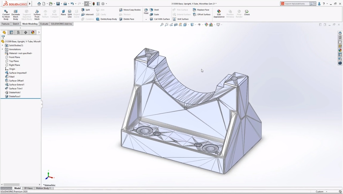 Direct Mesh Editing in SOLIDWORKS 2020. Image via Dassault Systèmes.