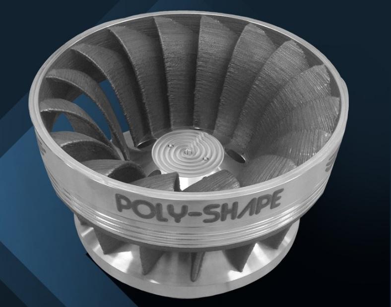 The 3D printed Francis turbine. Photo via Poly-Shape.