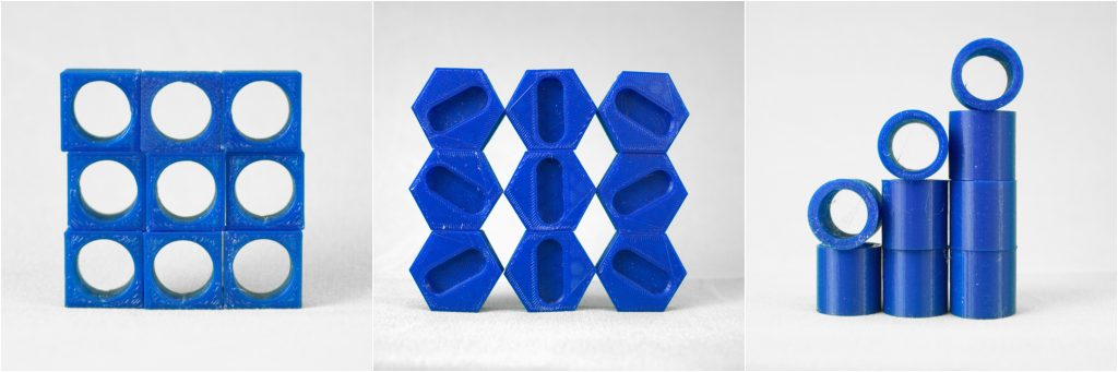Share, hexagon and tube repeatability tests 3D printed on the Creator 3.