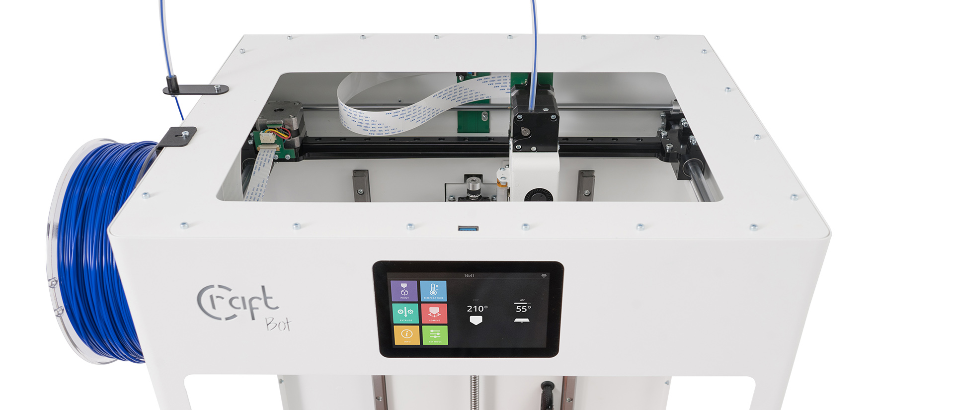 A CraftBot Flow single extruder 3D printer. Photo via CraftUnique.