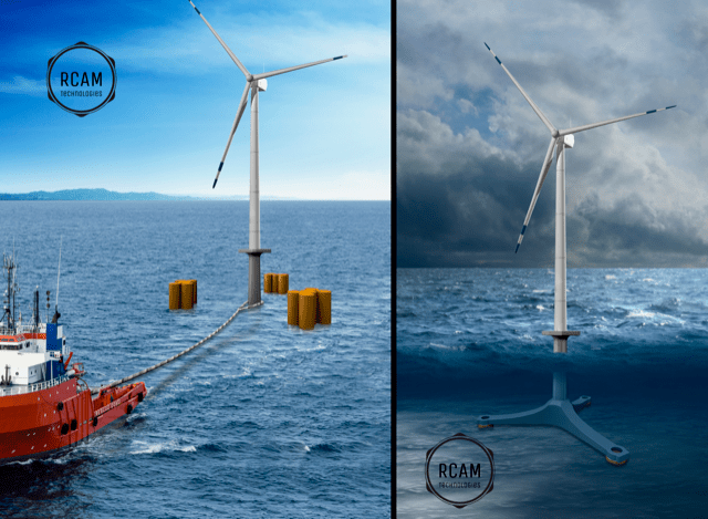 Demonstration of offshore wind turbine construction. Image via RCAM Technologies