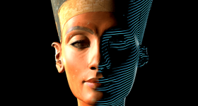 A 3D render of the Bust of Nefertiti. Image via Cosmo Wenman.