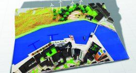 The winning minecraft town model 3D printed. Photo via Mimaki.