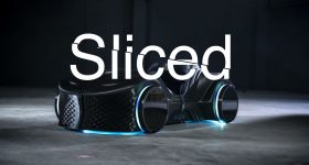 Sliced logo edited on photo of 3D printed LOCI car. Original photo via BigRep.