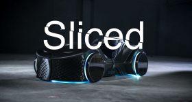 Sliced logo edited on photo of 3D printed LOCI car. Original photo via BigRep.