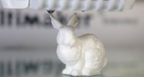 ETH Zürich's 3D printed Stanford bunny models, made to contain its own .stl file. Photo via ETH Zürich