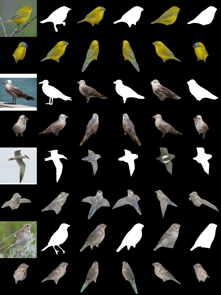 3D models of birds creating 2D source images. Image via NVIDIA