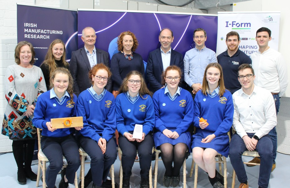 "The winning 'Shaping Your Future' team from Loreto College and their's 3D printed ""Keyzy"" invention. Photo via Science Foundation Ireland."