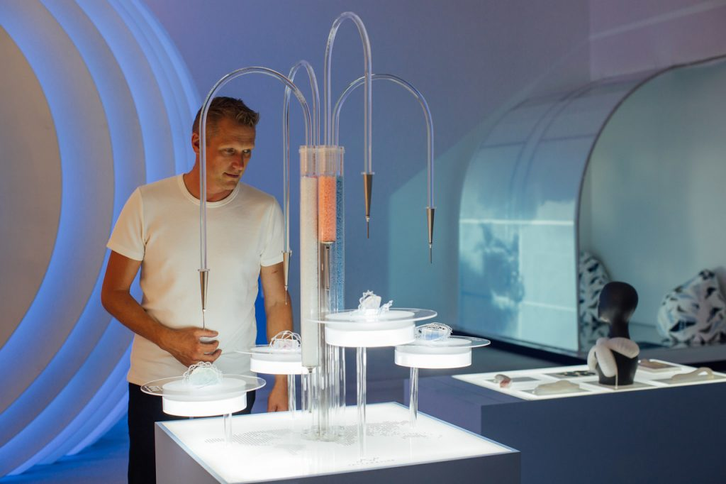 Artist's impression of 3D printer for custom medication from British Airways BA2119 Flight of The Future event in collaboration with the Royal College of Art at Saatchi Gallery in London on 30 July 2019. Photo by Nick Morrish/British Airways