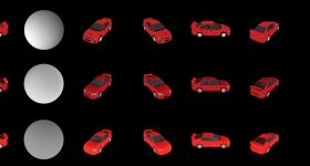 3D models of cars created from 2D source images. Image via NVIDIA