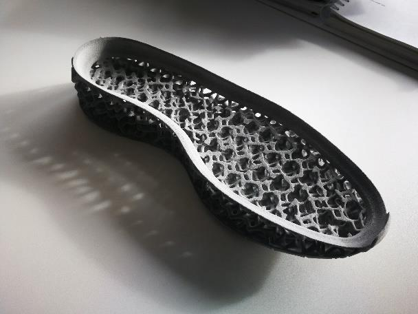 3D printed lattice structure for footwear. Photo via Covestro.