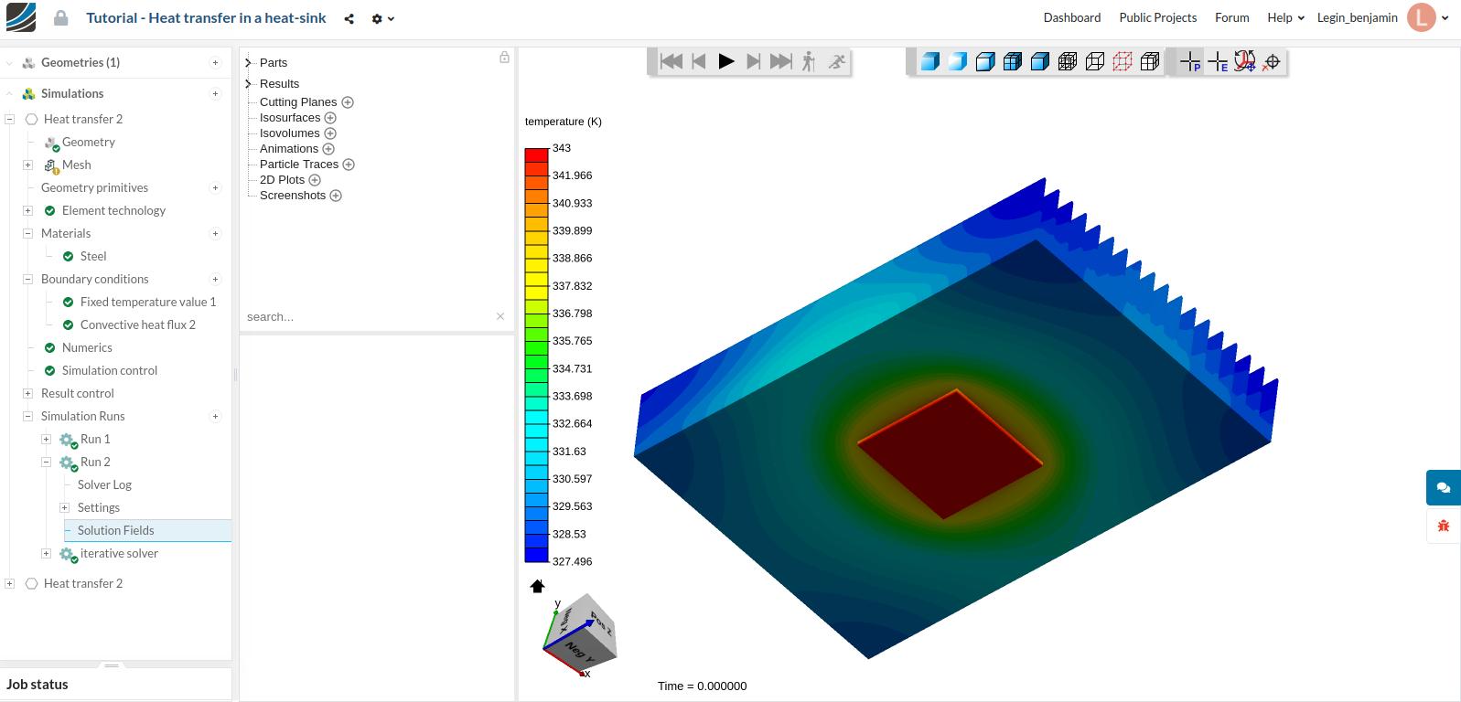 Temperature distribution around a heat sink in SimScale. Image via SimScale.