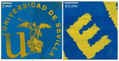 The 3D printed logo created using nanoparticles and inkjetting. Image via the University of Seville.