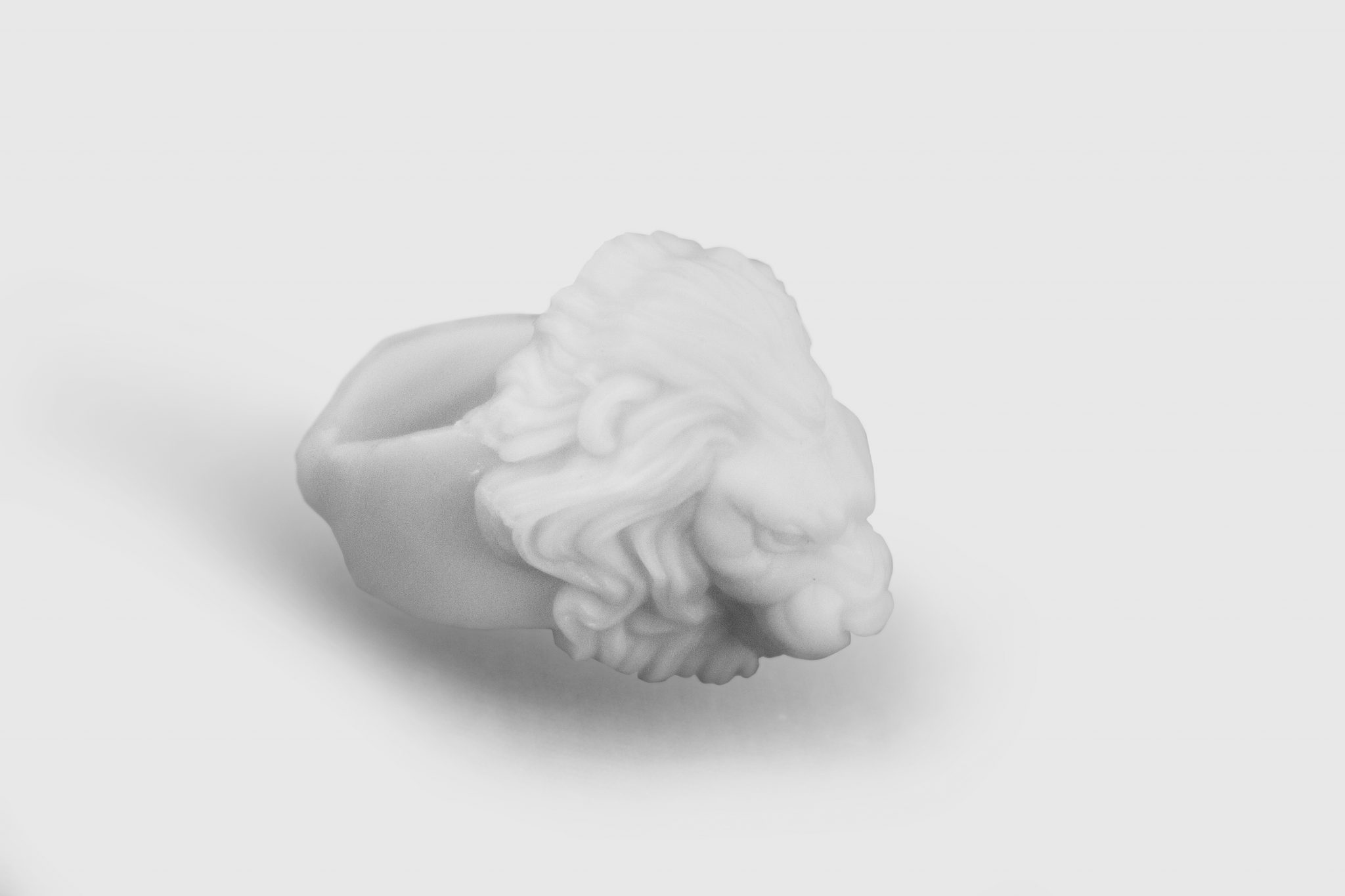 Close-up of the lion ring model.