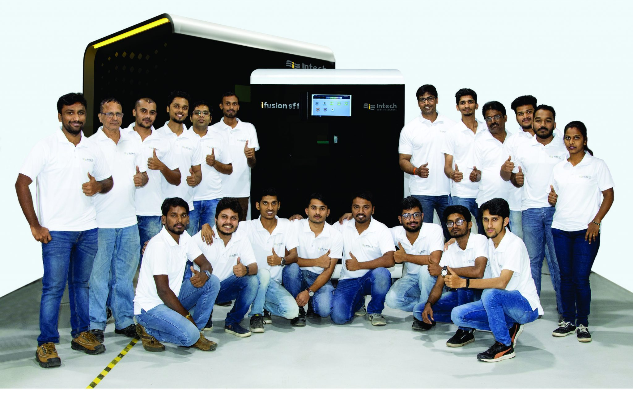 The Intech team with the iFusion SF1 and LFMulti. Photo via Intech