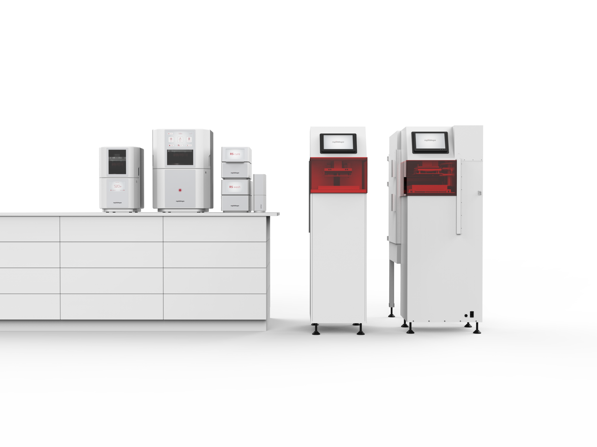 The entire line of jewelry 3D printers in the S+ series. Photo via Rapid Shape.