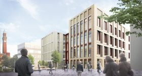 A render of the new School of Engineering, currently under construction at the University of Birmingham. Image via the University of Birmingham.