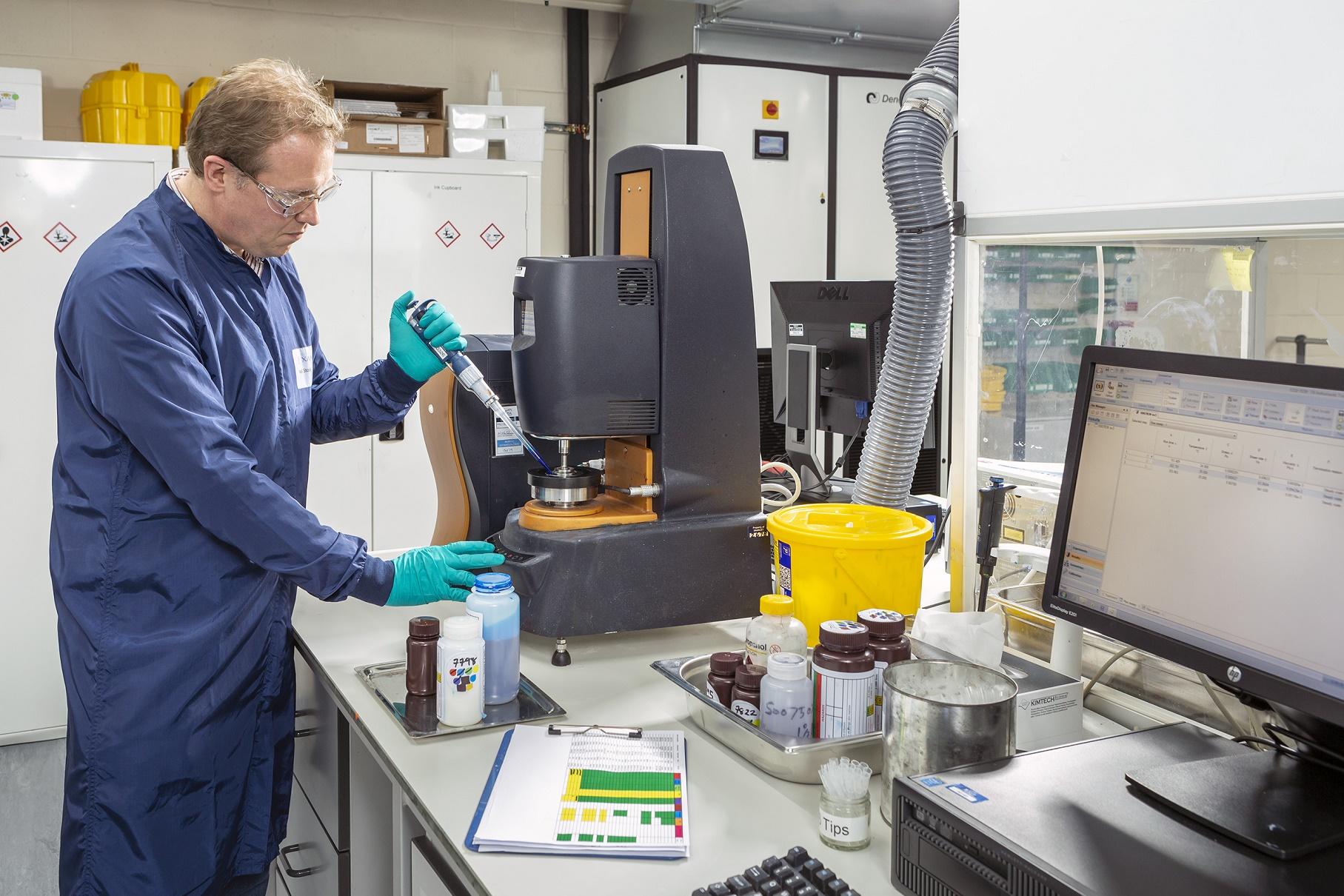 Evaluating inkjet fluids. Photo via Xaar.