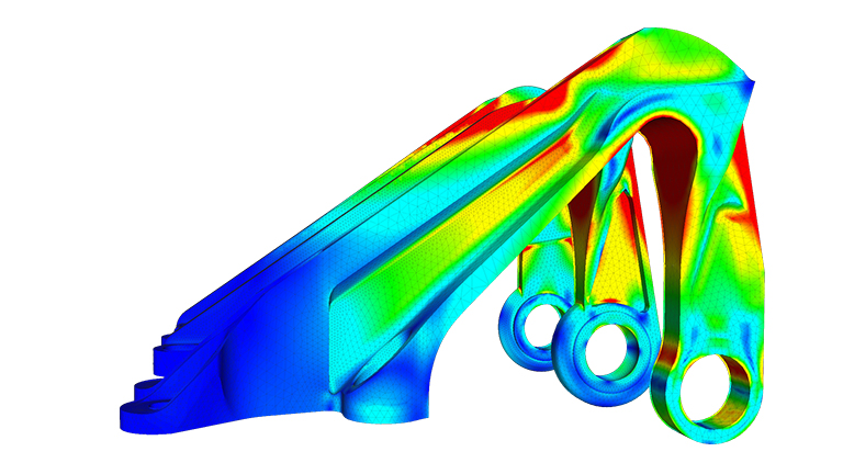 Finite element analysis of an aircraft's bearing bracket carried out in the web browser with SimScale. Image via SimScale.