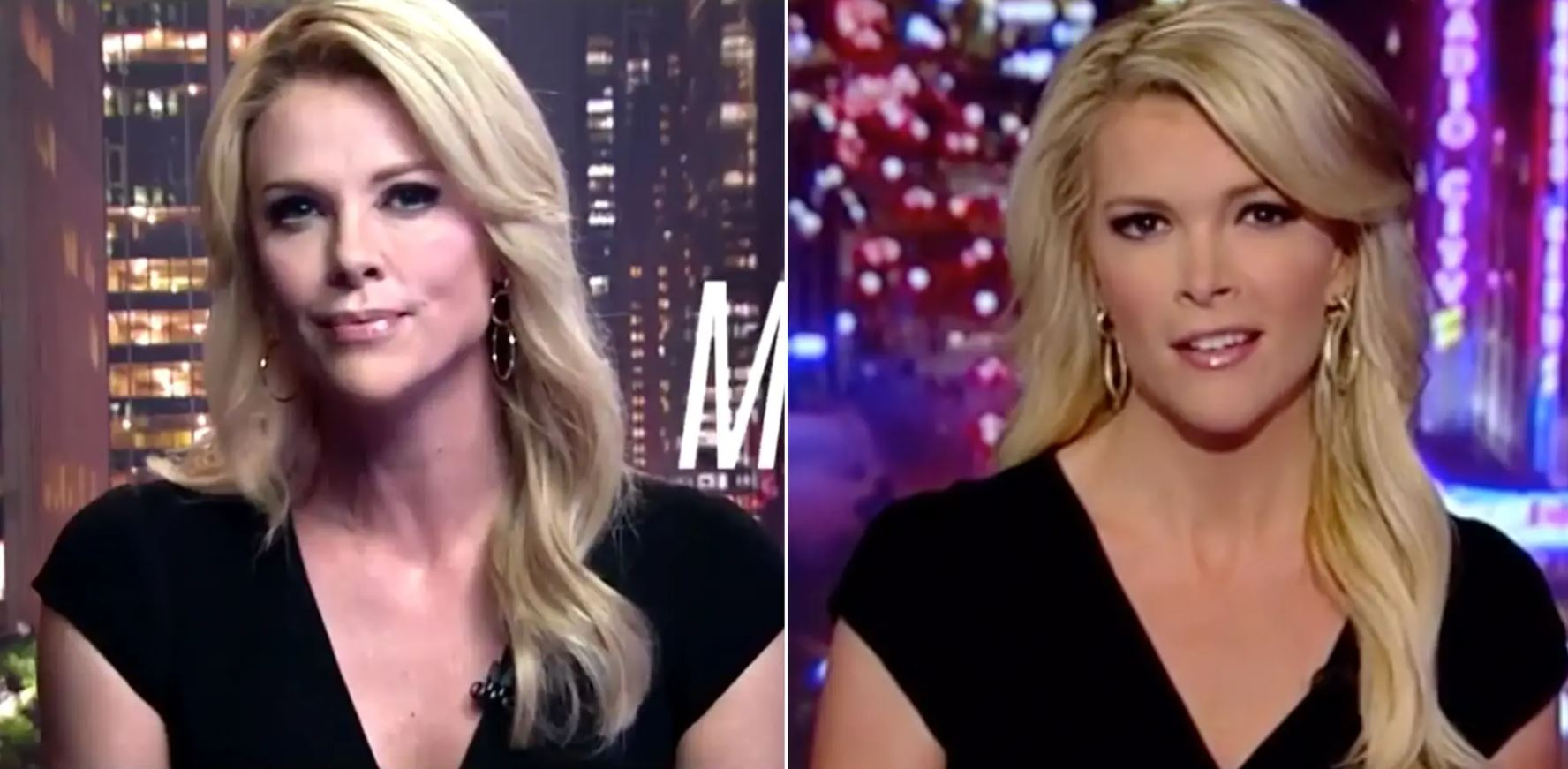 "Charlize Theron in ""Bombshell,"" left, and Megyn Kelly. Phohto via insider.com/Lionsgate Movies/Fox News"