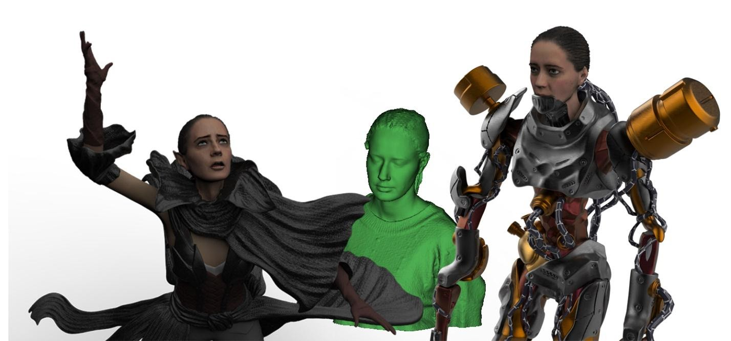 A reference model was digitized with Calibry 3D scanner. Based on the reference, the 3D characters have been created by an artist. Image via Thor3D.