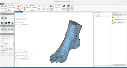 A reverse engineered model of a foot using Cyborg. Image via Thor3D.