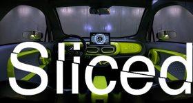 Sliced logo on XEV electric vehicle.