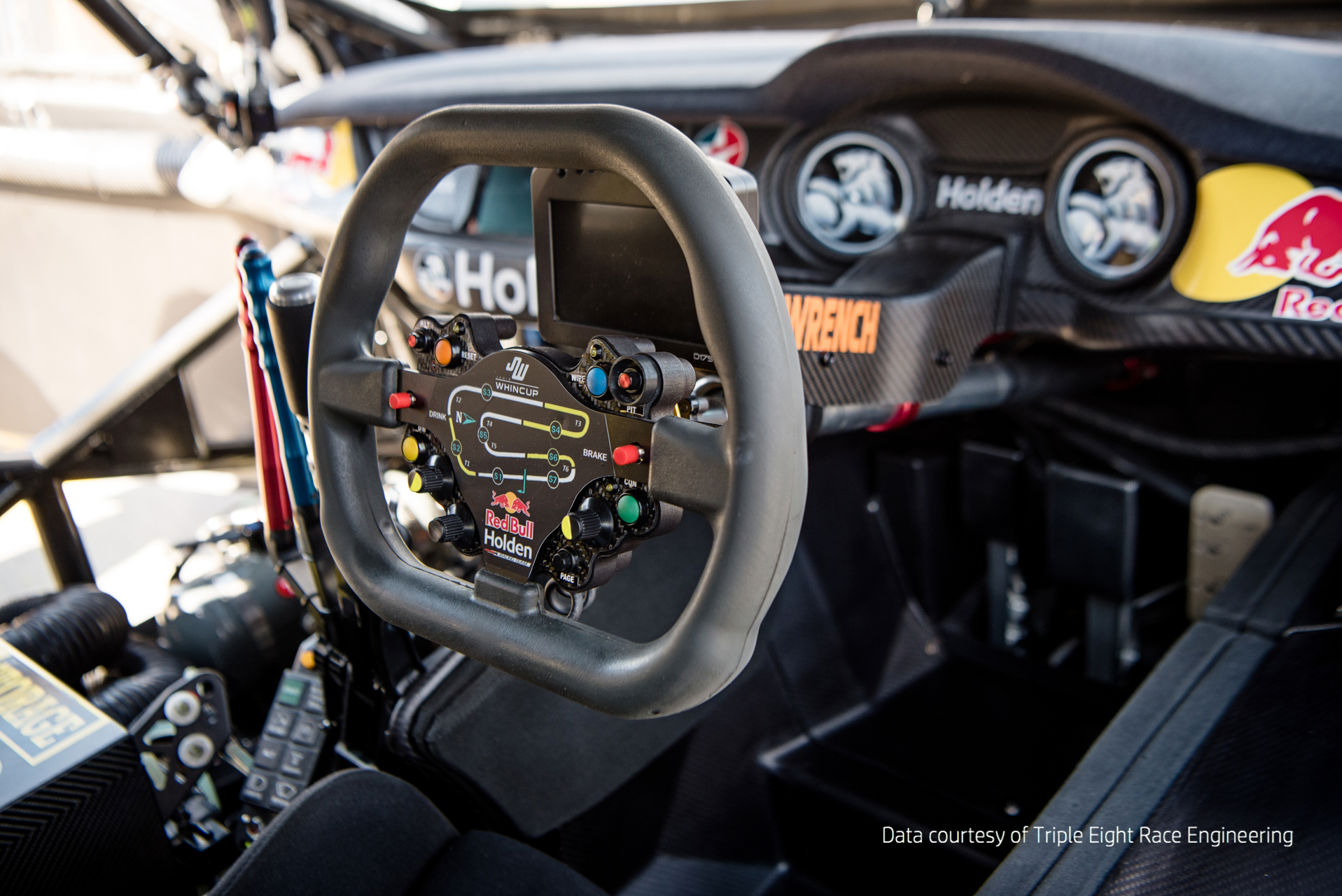 Steering wheel with 3D printed parts. Photo via Triple Eight Race Engineering.