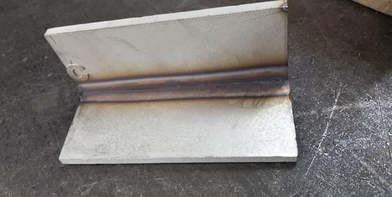 TIG welded specimen, with a corner joint and fillet weld. Photo via SCC.