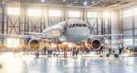 View inside an aviation hangar. Image via Optomec.