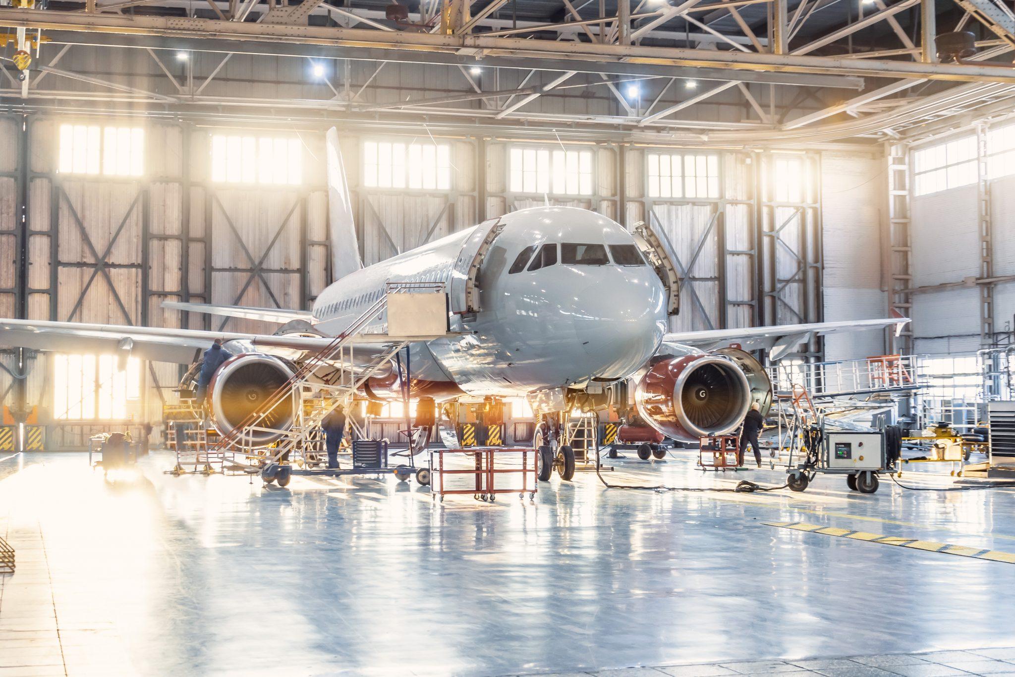 View inside an aviation hangar. Image via Optomec.