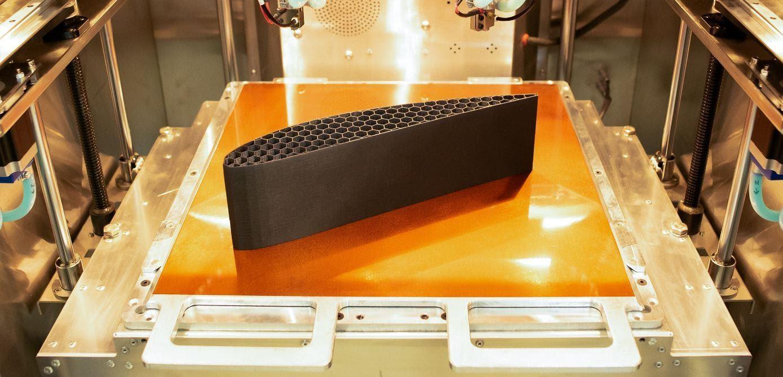 A part made from Solvay KetaSpire® AM FILAMENT CF10 LS1 – a carbon fiber-loaded PEEK material. Photo via AON3D.