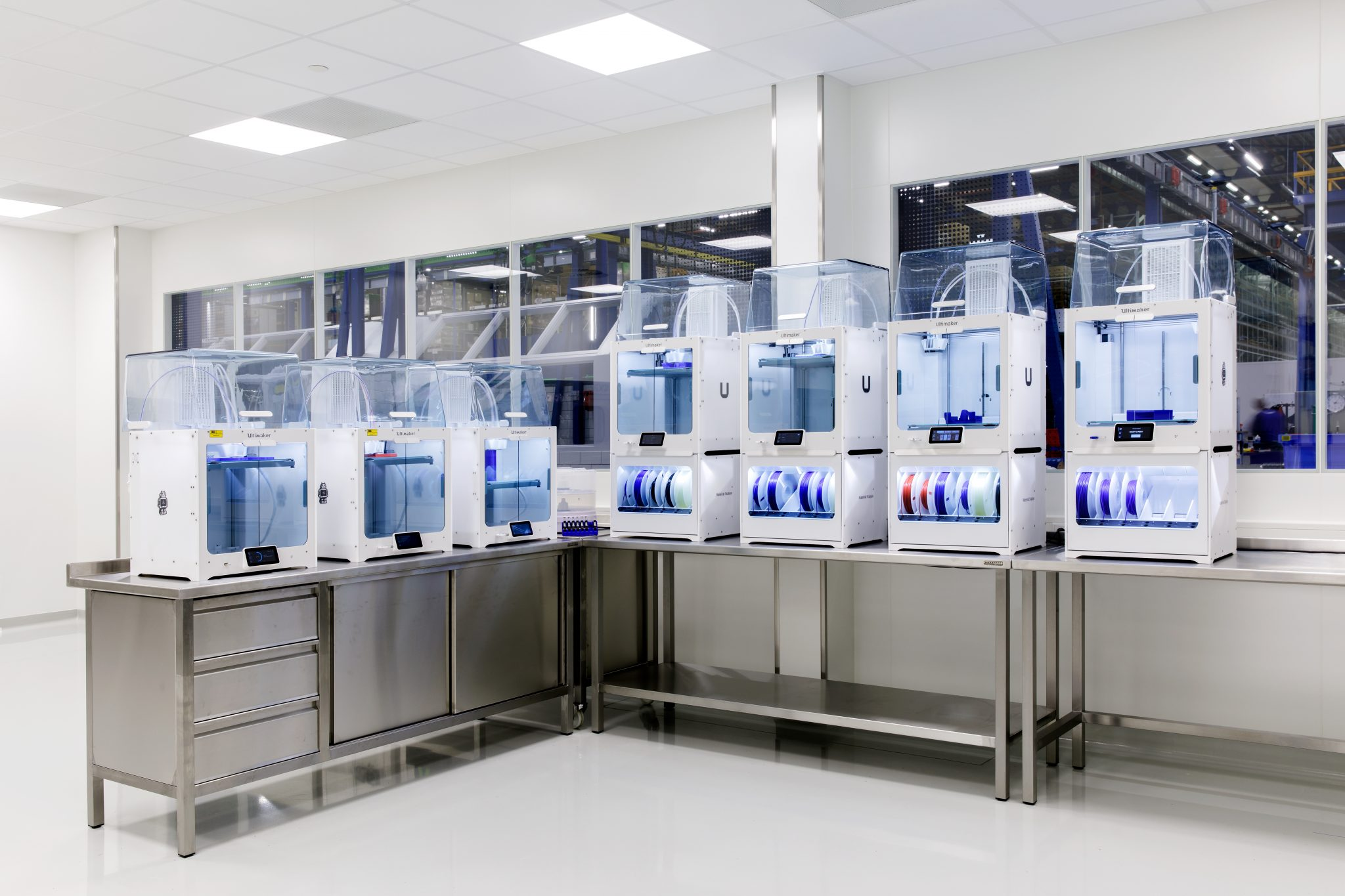 Ultimaker S5 3D printers at ERIKS' facility. Photo via Ultimaker.