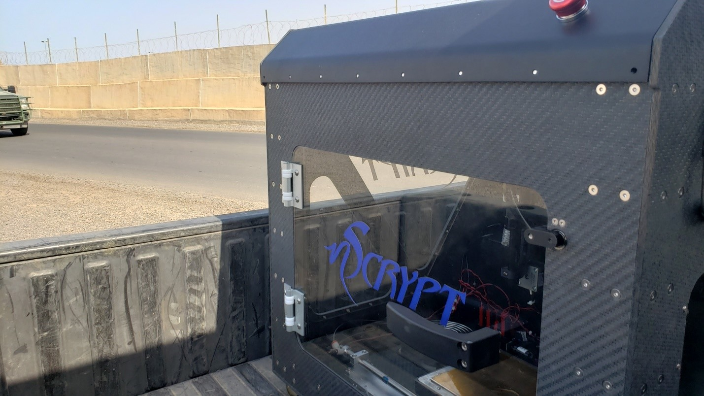 The nRugged FiT system on the back of a truck. Photo via nScrypt.