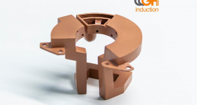 3D printed copper inductor. Photo via GH Induction.