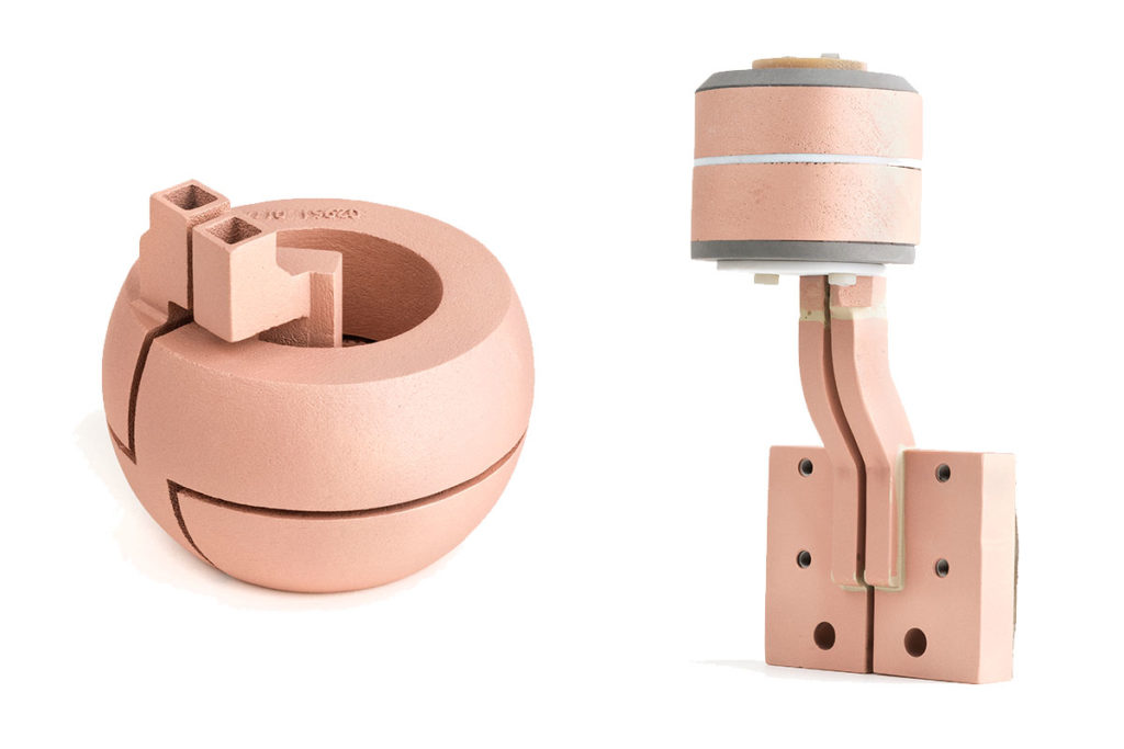 3D printed copper inductors. Image via GH Induction.